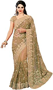 Nivah Fashion Women's Net Embroidery Saree with Blouse Piece(K