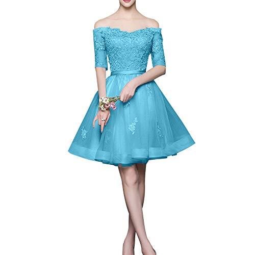 Spitze Mini Blau Silber La Cocktailkleider Marie Langarm mit Braut Schulterfrei Promkleider Rock Abendkleider ZxUw8q