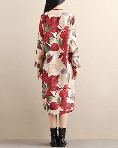 Women Long Sleeves Printing Cotton Dress Linen Coolred One Loose for apZB6n8qw