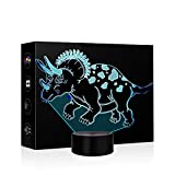 little boy room ideas Dinosaur Animal Night Lights for Kids Christmas Gift 3D Illusion Lamp LED Nightlights Kids Bedside Lamps 7 Colors Changing Vision Lighting Table lamp Children Room Decor As a Gift Ideas Boys Girls