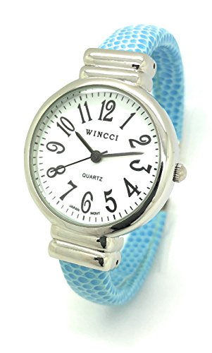 Ladies Snakeskin Leather Bangle Cuff Watch Round Case White Dial Wincci (Blue)