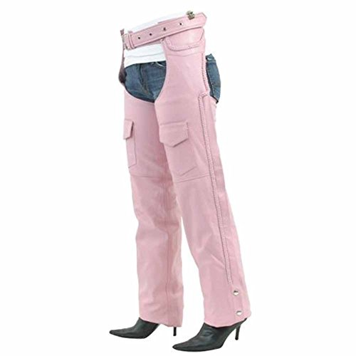 Ladies Pink Chaps - Ultimate Leather Apparel Womens Pink Braided Leather Motorcycle Chaps Covered Zipper with Flap & Mesh Lining XL Blue