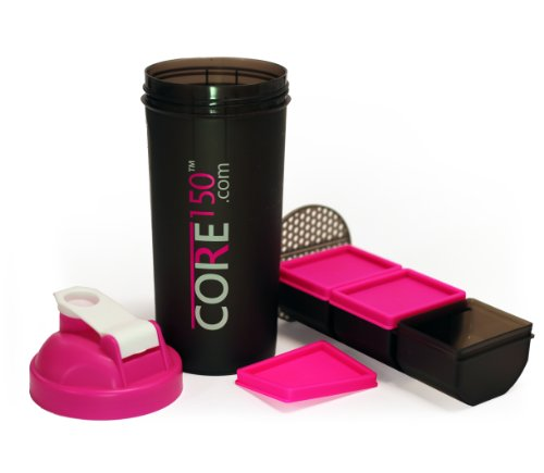Core150 Pink 1 Litre 35oz Shaker Cup with 3 Storage Compartments