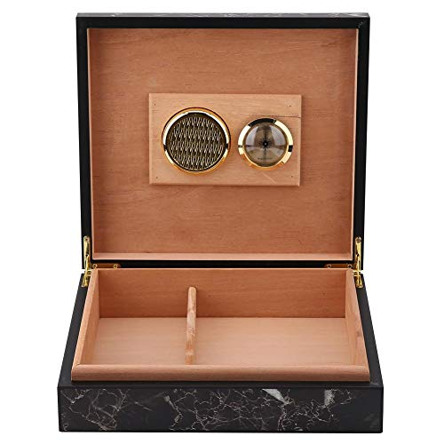 Garosa Cigar Humidor Wooden Vintage Luxury Mini Portable Humidor Cigar Box Wooden Cigarette Container Cigar Storage Box Well Seal Design Case Holds 25-50 Cigars Box Gift Set(Marble)