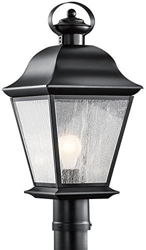 Kichler 9909BK Mount Vernon Outdoor Post Mount 1-Light, Black Classic Design Torchiere Lamps