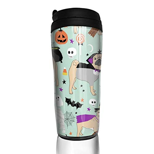Pug Halloween Costume - Cute Dogs In Costumes - Mint_24620 Coffee Mug 12 Oz Spill Proof Flip Lid Water Bottle Environmental Protection Material ABS ()