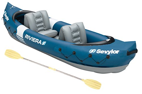 Sevylor Inflatable Kayak Riviera, 2 Man Canadian Canoe with Paddle, Sea...
