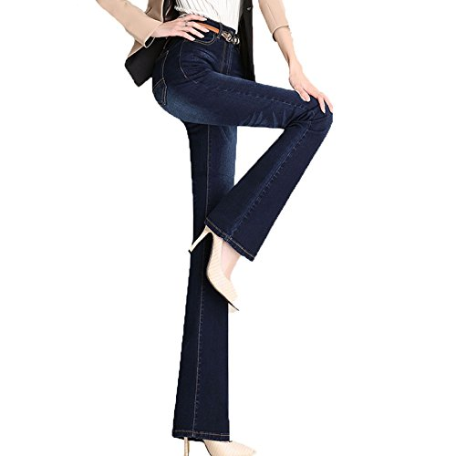 ADEMI Jeans  Taille Haute pour Femmes Stretchy Ladies Zip Up Jeans Flare Pants,Blue4-Trousers-44