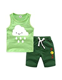 Kids Cotton Tank Top Undershirts Children's Summer Sports Tank Top Short Set Cute Cloud Pattern Print Undershirts Vest Shorts Set Girl's Sleeveless Crew Neck T-Shirts Clothes For Crew Neck For Boys or