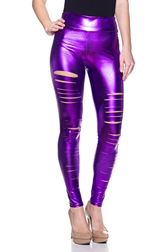 Purple Faux Leather - J2 LOVE Women's Junior Plus Faux Leather Ripped Legging, 5X, Purple