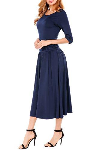Sleeve Long Waist Beyove Ruched Women's Evening Navy Half Dress Blue Cocktail EnwUwqa1
