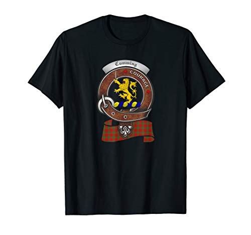 Cumming Scottish Clan Badge T-Shirt with Tartan