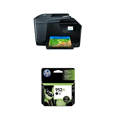 HP OfficeJet Pro 8710 Wireless All-in-One Photo Printer with Mobile Printing, Instant Ink ready (M9L66A) and HP 952XL Black High Yield Original Ink Cartridge (F6U19AN) Bundle