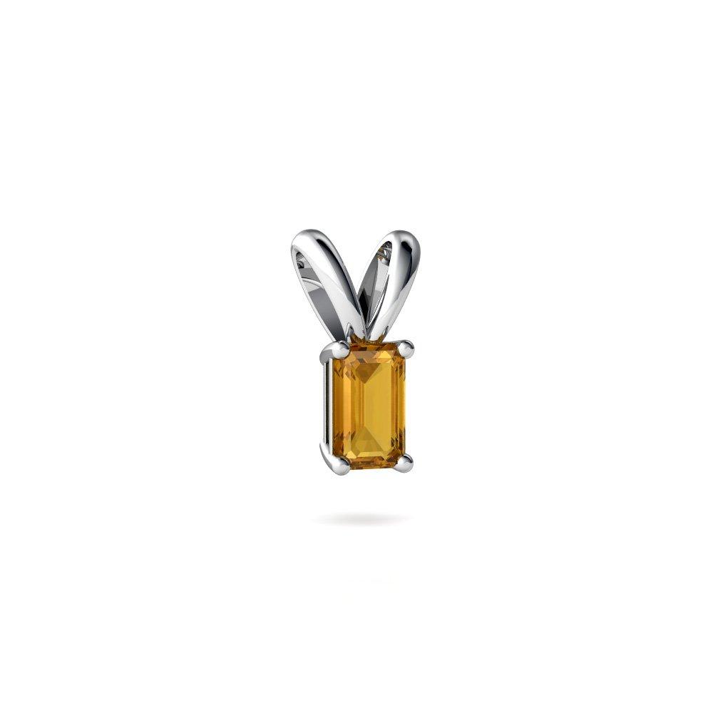 14kt Gold Citrine 5x3mm Emerald/_Cut Solitaire Pendant