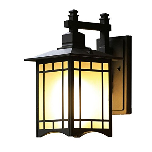 ATC Outdoor Wall Sconce Single-Light Aluminum Material Wall Lantern with Frosted Glass Panels Waterproof Square Wall Lamp for Porch Deck Patio Balcony