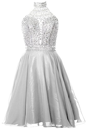 High Dress Formal Homecoming Gorgeous Gown Weiß Neck Halter Cocktail MACloth Prom w8XIWqZZ