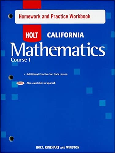 Holt mathematics california homework and practice workbook course holt mathematics california homework and practice workbook course 1 1st edition fandeluxe Choice Image