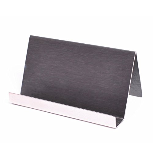 Nipole Modern Office Business Card Holder Desk Display Stand Stainless Steel in Brushed Black