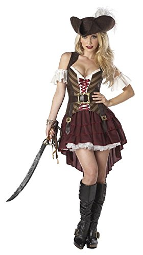 [ReachMe Womens Mens Halloween Pirate Costumes Stylish Caribbean Pirate Costume(Women Style 4)] (Siren Costume Halloween)
