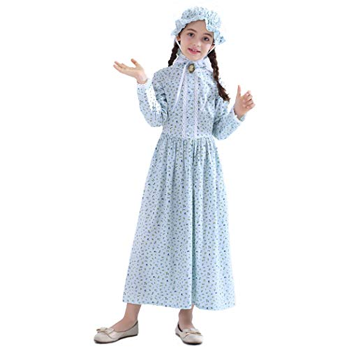 Girls Pioneer Costume Colonial Prairie Dress 100% Cotton,Blue-8 -