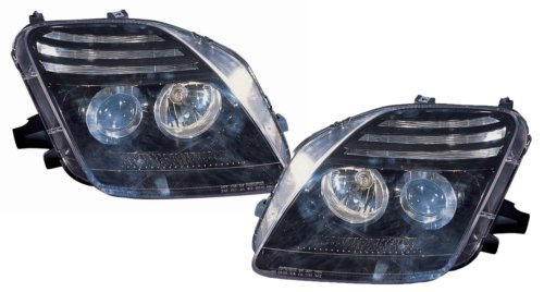 Honda Prelude Replacement Headlight Assembly (Projector Black) - 1-Pair - Honda Prelude Headlight Replacement