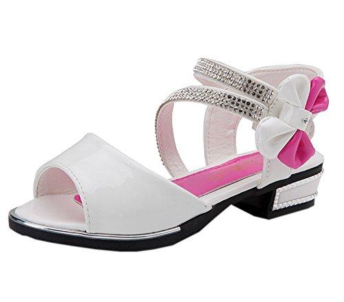 Vokamara Girls' Peep Toe Patent Leather Rhinestone Strap Bow Low Heel Dress Sandals White 27 (Toe Bow Peep Patent)
