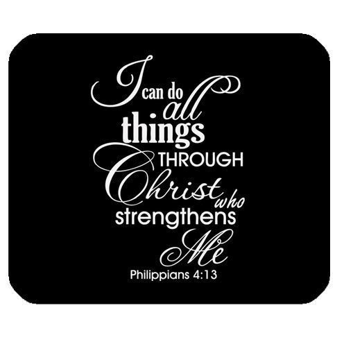 "Bible Quotes-I can do all things THROUGH Christ who strengthens Me Philippians 4:13 Cloth Cover Rectangle Mouse Pad 9.84""x7.87"""