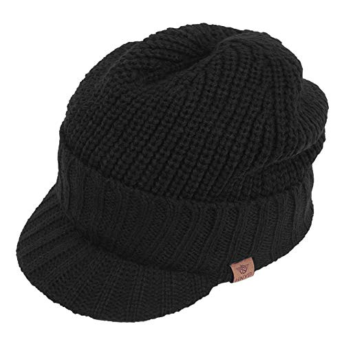 Original One Sports Winter Knit Visor Billed Beanie Hat with Brim Fleece Lined Cap for Men & Women - Visors Billed Large