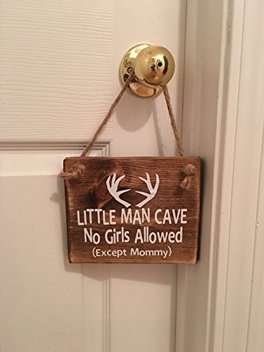 Little Man Cave No Girls Allowed Except Mommy | Antler | Woodsy Nursery | Door Sign by Millies Attic (Image #3)
