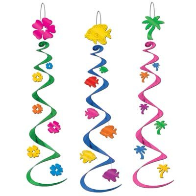 6 Luau Party Whirls/Luau Hanging Decorations and Supplies/Beach Pary Decorations/Fish and Palm Tree Decorations