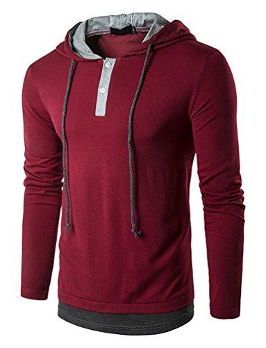 Hengta Men's Hooded Shirts Casual Long Sleeve T Shirt Hoodies Wine Red (Casual Hooded Long Sleeve)