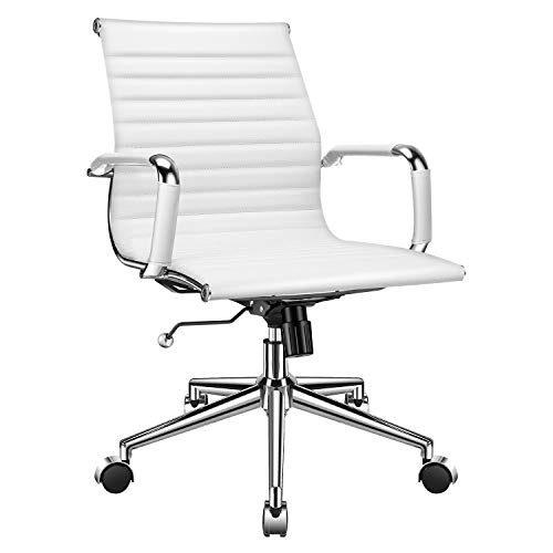 Seating Contemporary Arms - LUXMOD Mid Back Office Chair with Armrest, White Adjustable Swivel Chair in Durable Vegan Leather, Ergonomic Desk Chair for Extra Back & Lumbar Support, Modern Executive Chair White