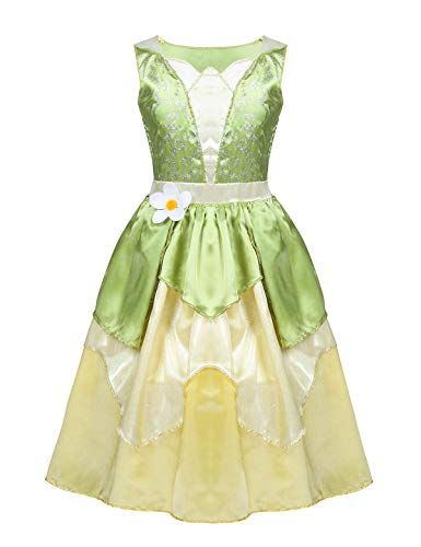 Alvivi Girls Glitter Tianna Costume Cosplay Fancy Dress Up for Halloween Role Play Pageant Party Ball Gown Light Green&Yellow 8-10