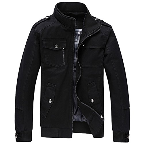 MRstriver New Men's New Casual Jacket Multi-Pocket Mandarin Collar Men Coat Comfortable Mens Jackets MWJ1771 Black M