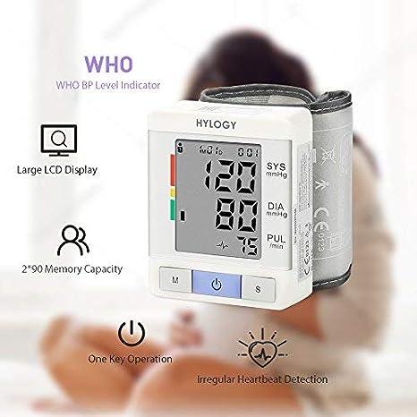 Tensiómetro de Muñeca, HYLOGY Tensiómetro Digital de Muñeca Totalmente Automático Presión Arterial y Detección de Pulso Arrítmico Memoria (2 * 90): ...