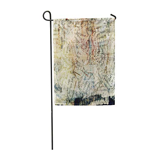 Semtomn Garden Flag 28x40 Inches Print On Two Side Polyester News Newspaper Magazine Collage Grunge Media Abstract Letter Alphabet Old Word Home Yard Farm Fade Resistant Outdoor House Decor Flag