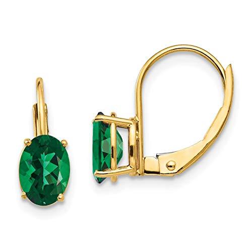 (14k 7x5mm Oval Mount St. Helens Leverback Earrings in 14k Yellow Gold )