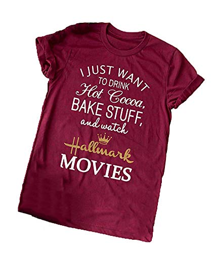 Enmeng Womens Christmas Movie Tees I Just Want to Watch Hallmark Movies T-Shirt Graphic Tees (M, Wine Red)