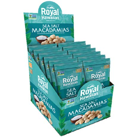 (Royal Hawaiian Macadamia Nuts Roasted Salted--Snack Pack (Sea Salt)-12 1-oz Packages-Low Carb, Keto Friendly Snack, and Great for Paleo Diet)