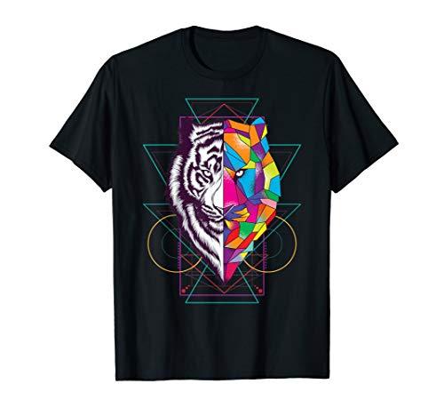 Ornaments Tee - Tiger Shirt Colorful Tiger Sacred Geometric Ornament Tee