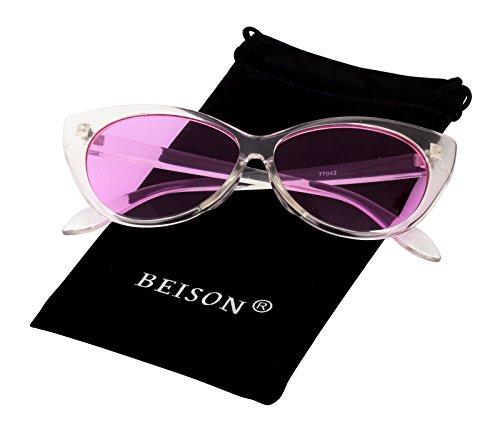 Beison Womens Cateye Glasses Sunglasses Tinted Lens UV400 Protection (Transparent, Purple - Glasses Purple Framed
