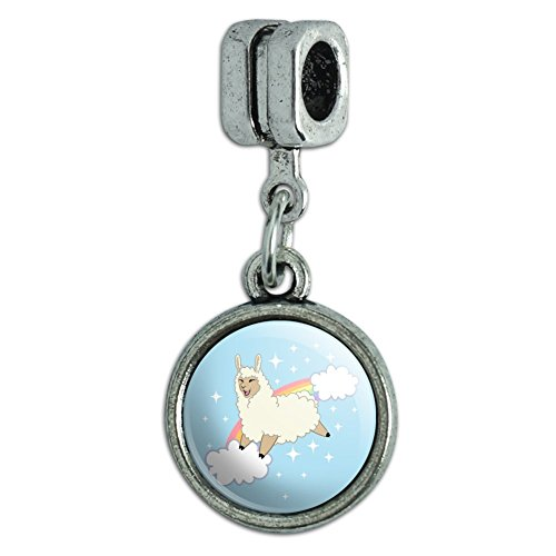 GRAPHICS & MORE Llama on Sparkling Rainbow Italian European Style Bracelet Charm Bead