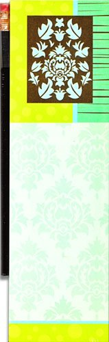 (Damask Blue Magnetic Refrigerator Note Pad with Pencil)