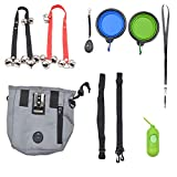 Dog Training Kit Set of 8, Dog Treat Pouch, Doggie Doorbell for Potty Training, Collapsible Dog Bowl for Water and Food, Puppy Training Clicker and Whistle to Stop Barking, Dog Waste Bag Dispenser