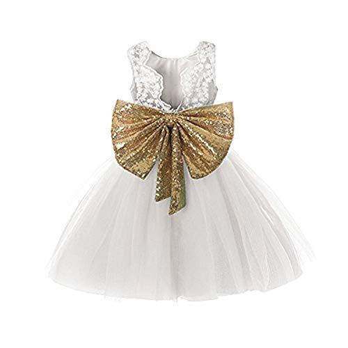 Prom Dresses Gold and White Flower Little Girls Pageant Dresses Baby White Backless Sequin Elegant Tutu Beach Clothes for Baptism Communion Party Size 5 5t Age 5 White 120