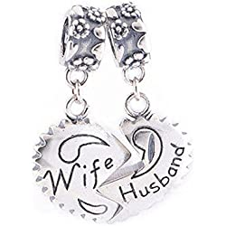 FJCharm Husband Wife Heart Love Charms Dangle Charms Couple Beads Fits Pandora Charms Valentine's Day Gift 2017