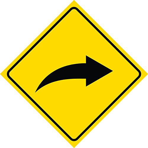 Yellow Diamond Road Notice Right Curve Arrow Street Sign Commercial Plastic Square Sign - Single Sign, 12x12
