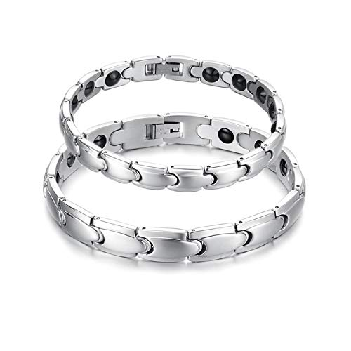 (Feraco Mens Stainless Steel Magnetic Therapy Bracelet Pain Relief for Arthritis with Remove Tool )