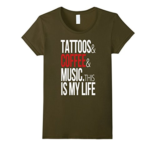 Women's Tattoos Coffee Music This Is My Life T Shirt Gift...