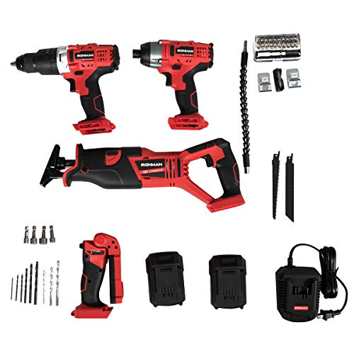 "Goplus 4-Tool Combo Kit, 18V Lithium-Ion 1/2"" Cordless Drill Driver, 1/4"" Impact Driver, Reciprocating Saw and LED Flashlight, Suitable for Wood, Tile, Steel and Brick Wall"